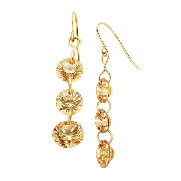 Champagne Cubic Zirconia Drop Earrings in 14K Gold