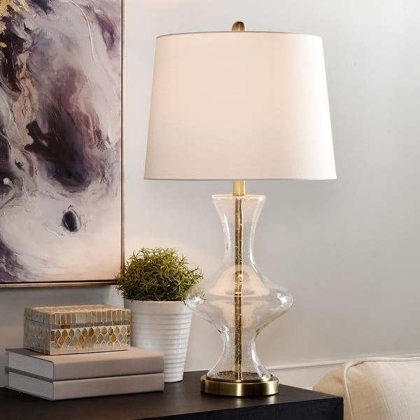 Shop Silver Orchid Edthofer Clear Seeded Curved Vase Table Lamp On Sale Overstock 27704137