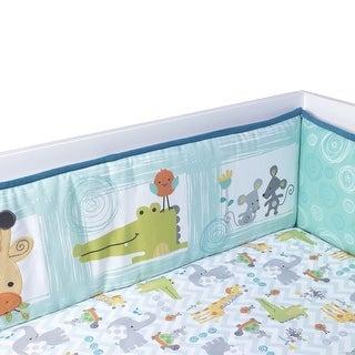 Lambs & Ivy Yoo-Hoo Turquoise/Blue/White Alligator and Giraffe 4-Piece Baby Crib Bumper