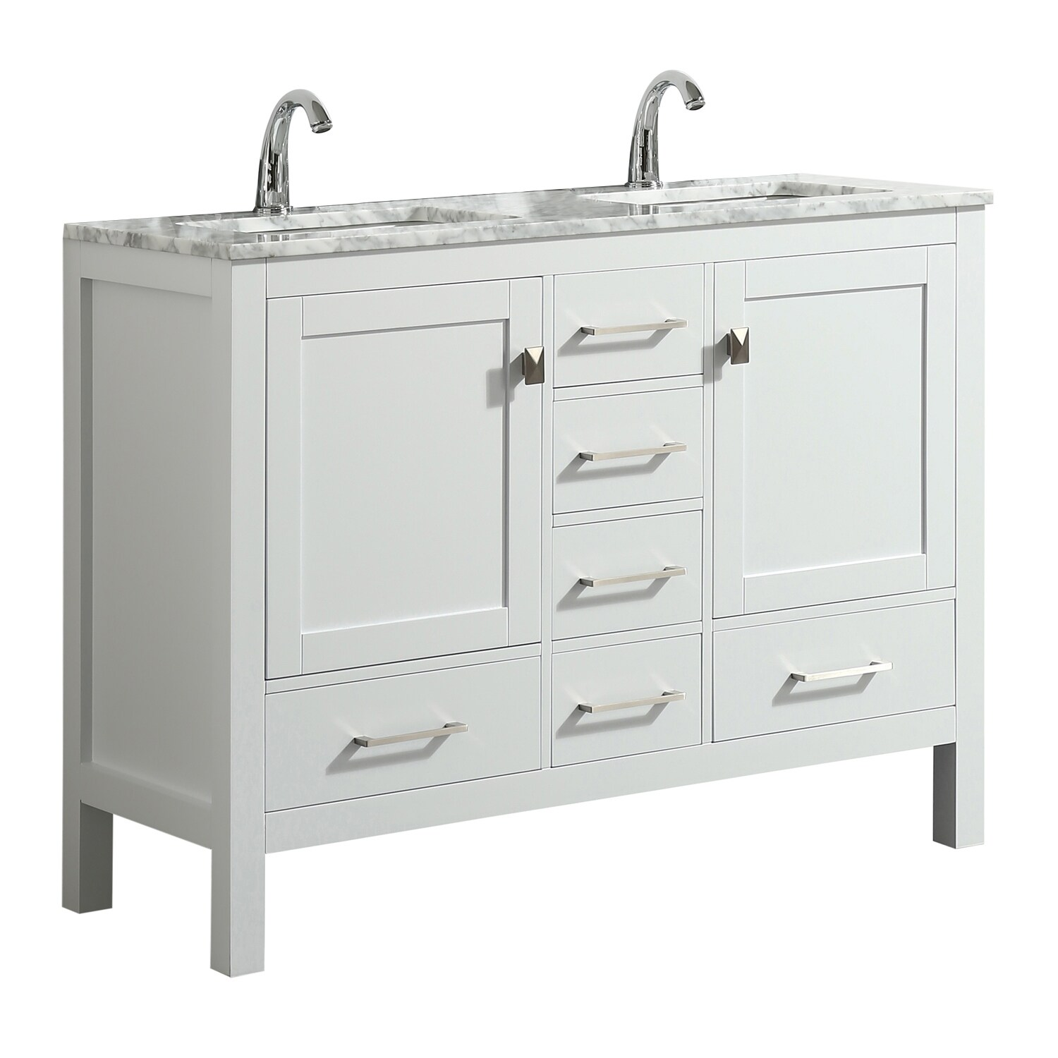 Shop Eviva London 48 X 18 Inch White Transitional Double Sink Vanity With White Carrara Marble And Undermount Porcelain Sinks Overstock 23565163
