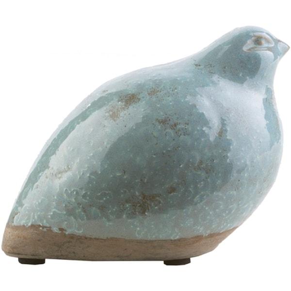 "5.51"" Eggshell Blue and Desert Brown Bird Shaped Decorative Figurine - N/A"