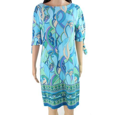 London Times Women's Dress Blue Size 2 Shift Swirl Printed Tied-Sleeve