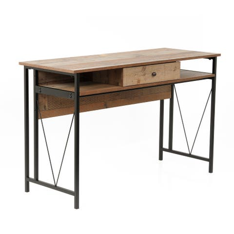 OS Home and Office Model 41413 Home Study Desk with Drawer and Cubby Storage Shelves and Rustic Barnwood Laminate