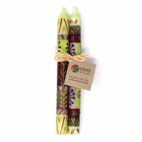 "Hand Painted Candles in ""Kileo"" Design (pair of tapers)"