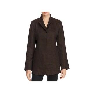 Eileen Fisher Womens Petites Jacket Jacquard Hi Collar