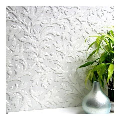 High Leaf Paintable Textured Vinyl Wallpaper - 20.9 x 396 x 0.025