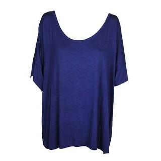 Extra Touch Plus Size Juicy Navy Elbow-Sleeve Lattice-Back T-Shirt 3X
