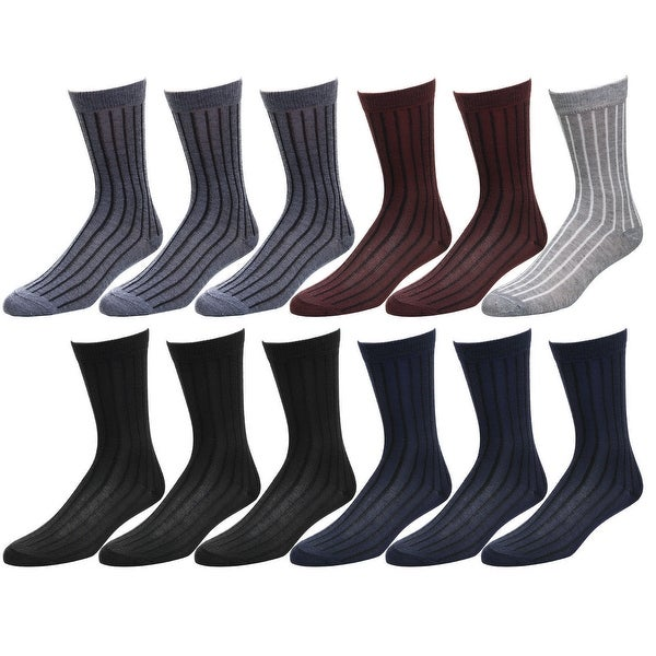 12-Pack Men/'s Cotton Dress Socks Casual Crew Fashion Multi Colors US Seller .