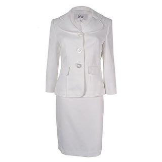Le Suit Women's Textured Skirt Suit