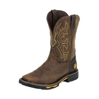 Justin Work Boots Mens Hybred Square Composite Toe Western Rust WK4625