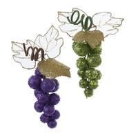 """Club Pack of 24 Purple and Green Glitter Drenched Grape Christmas Ornaments 7"""""""