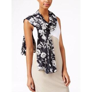 Calvin Klein Women's Black Graphic Floral Logo Scarf
