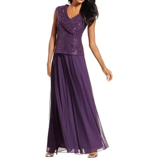 Patra Womens Formal Dress Sequined Cap Sleeves