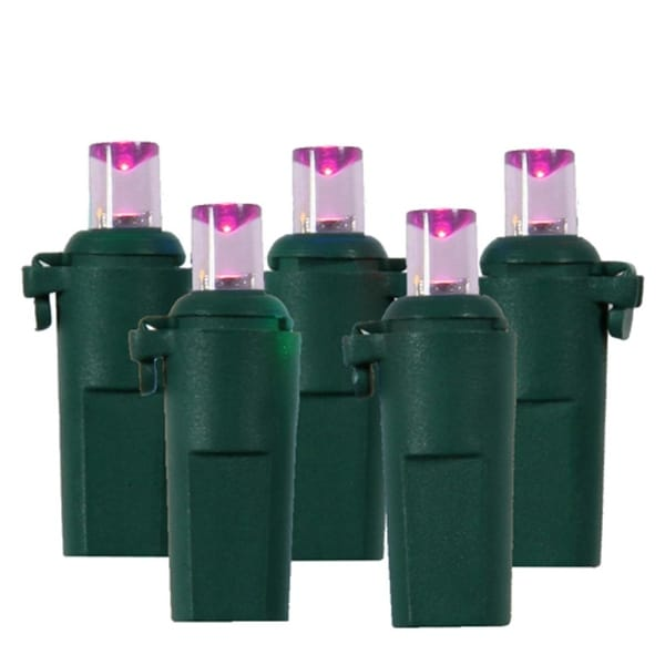 15 Battery Operated 8 Function Pink LED Wide Angle Christmas Lights Green Wire