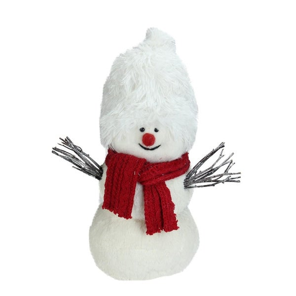 "17"" White Snowman with Red Scarf Table Top Decoration"