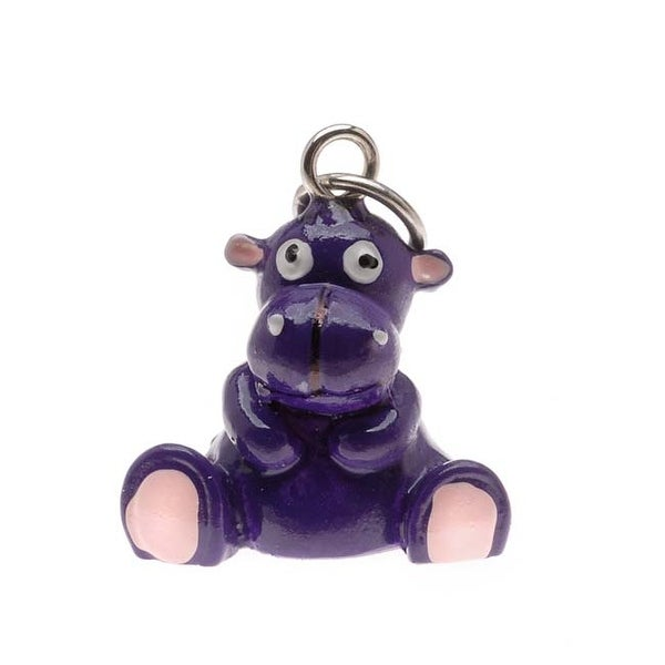 Hand Painted 3D Resin Charm - Honey The Hippo - Purple 15mm (1)