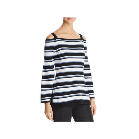 Heather B Womens Sweater Cotton Striped - S