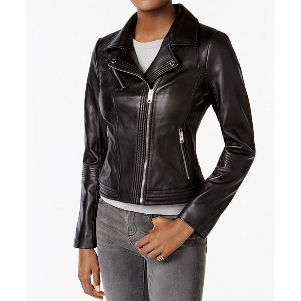 MICHAEL Michael Kors Black Leather Moto Jacket