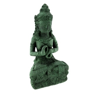 Green Tara Volcanic Stone Outdoor Statue - 13.5 X 7 X 6 inches