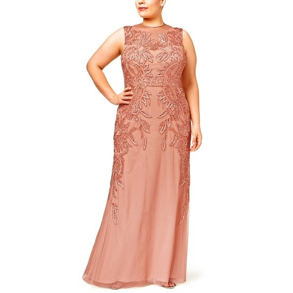 Shop Adrianna Papell Plus Size Beaded Evening Gown Dress - 24W ...