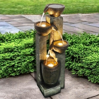 4-tier Outdoor Modern Water Fountain w/LED Lights for Home Decor