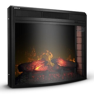 DELLA Embedded Electric Fireplace Insert Freestanding Heater Remote Glass View Three-Level Brightness Flame 1400W, Black