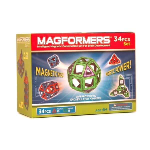 Magformers Neon Color Magnetic Construction Set 34-Piece (Green/Purple) - Multi
