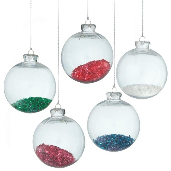 "Clear Transparent White Tinsel Filled Christmas Ball Ornament 4.25"" (110 mm)"