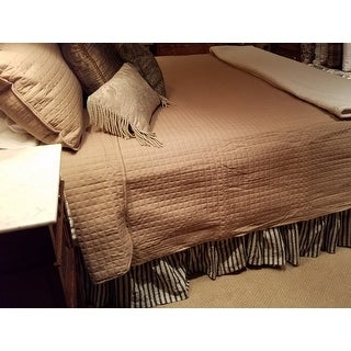 Grey Farmhouse Bedding VHC Ashmont Bed Skirt Cotton Striped Gathered Seersucker