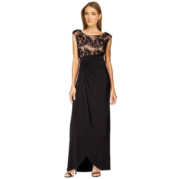 Shop Connected Apparel Plus Size Soutache Faux Wrap Evening Gown