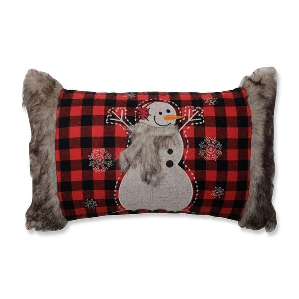 """20"""" Buffalo Plaid Snowman with Fur Accents Decorative Throw Pillow - RED"""