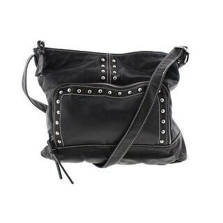 Marc Fisher Womens Front Line Faux Leather Studded Crossbody Handbag - Black - Medium