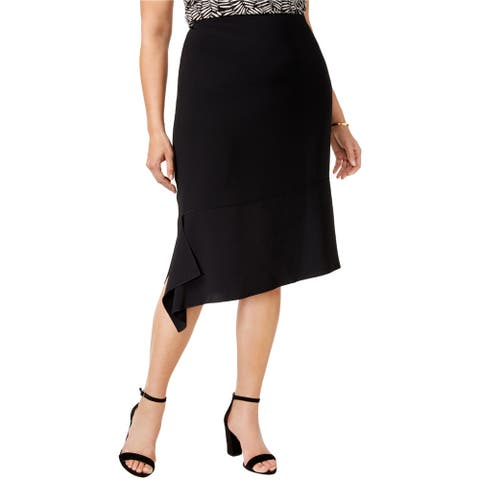Anne Klein Womens Asymmetrical Hem A-line Skirt, black, 18W