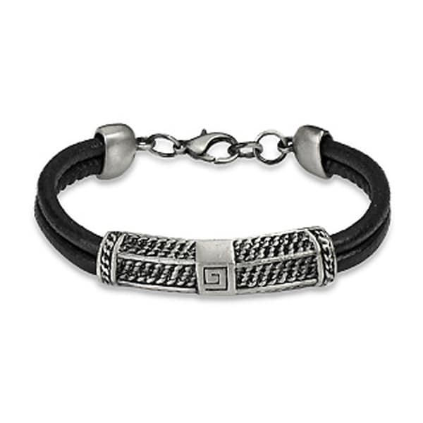 Double Leather Strap Bracelet with Stainless Steel Bar (8 mm) - 8 in