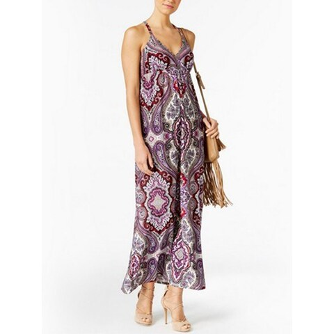 INC International Concepts Petite Printed Surplice Maxi D Couture, Purple, XS - pxs