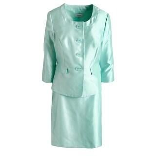Le Suit Womens Petites The Hamptons 3/4 Sleeves 2PC Skirt Suit