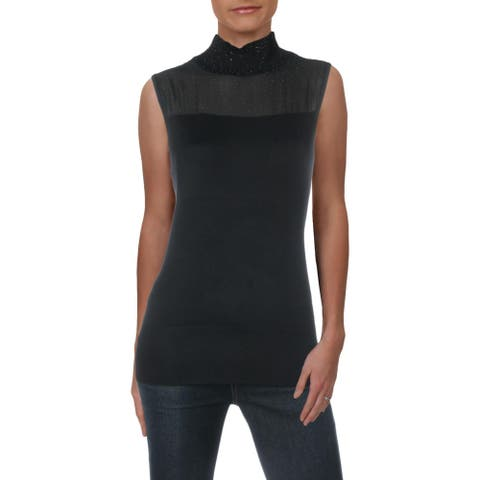 Cable & Gauge Womens Pullover Sweater Studded Mock Neck - Black