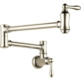 "Delta 1177LF Traditional Wall Mounted Pot Filler with Dual Swing Joints and 24"" Extension - Includes Lifetime Warranty"