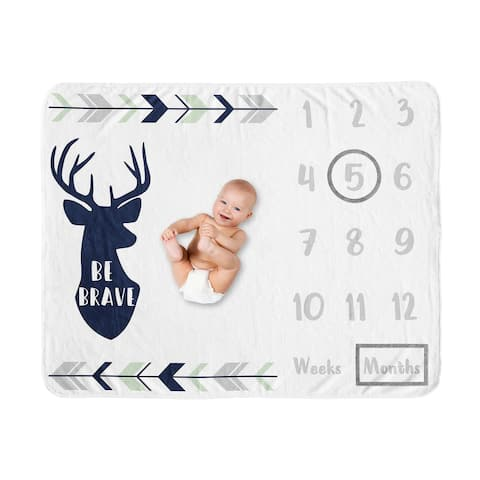Woodland Deer Collection Boy Baby Monthly Milestone Blanket - Navy Blue, Mint and Grey Woodsy Forest Arrow Be Brave