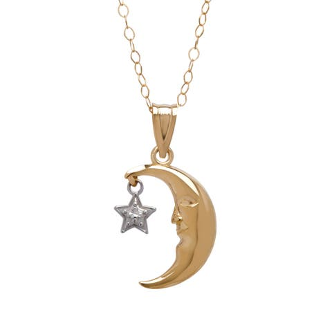 Just Gold Moon & Star Pendant in 10K Two-Tone Gold