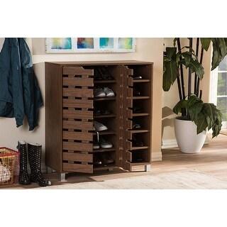 "Arielle ""Walnut"" Medium Brown Wood 2-Door Shoe Cabinet w/Open Shelves"