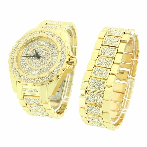 Mens Iced Out Simulated Diamonds Watch & Bracelet Set Gold Finish Stainless Steel Back