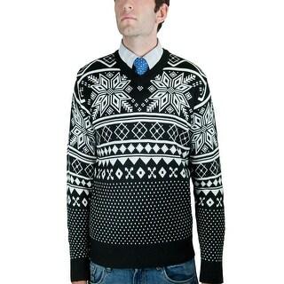 Men's Retro Jacquard V-Neck Sweater (SW-037)