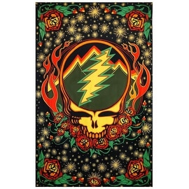 Grateful Dead Steal Your Face Tapestry with Roses Hippie Hanging Wall Art Scarlet Fire 60 x 90