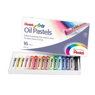 Pentel Oil Pastel Set, 5/16 x 2-7/16 Inch, Assorted Colors, Set of 16