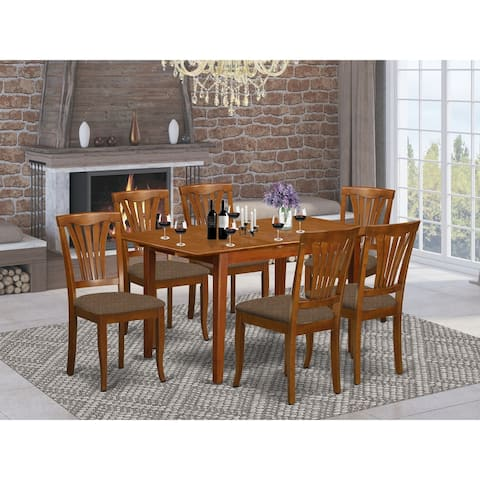 7-piece Dinette Set - Dining Table and 6 Kitchen Chairs in Saddle Brown Finish