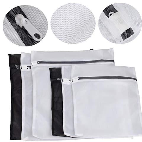 6 Zipped Wash Bag Net Laundry Washing Mesh Lingerie Underwear Bra Clothes Socks - Silver - M
