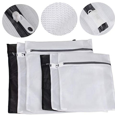 Set of 6 Mesh Laundry Wash Bags Bra Lingerie Protection Washing Bags - Silver - M