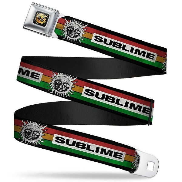 Sublime Sun Logo Full Color Sublime Sun Stripe Black Rasta White Webbing Seatbelt Belt