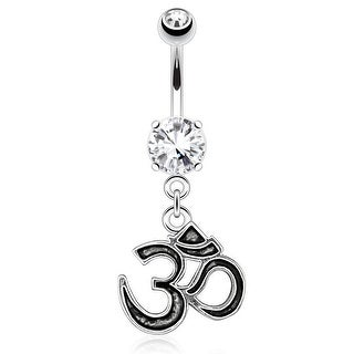 Om Casting Styled and Outlined Dangle 316L Surgical Steel Navel Belly Button Ring